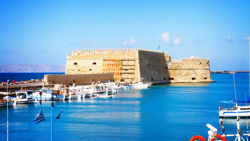 50881346 - heraklion harbour with old venetian fort, crete, greece, toned