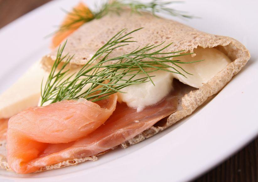 crepe with mozzarella and salmon