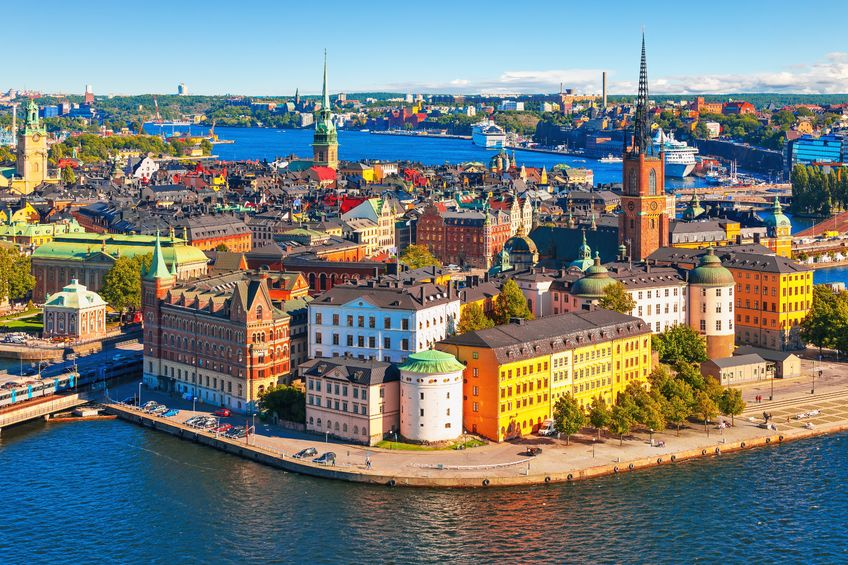 18167228 - scenic summer aerial panorama of the old town  gamla stan  in stockholm, sweden