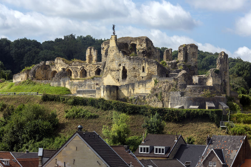 69710644 - valkenburg castle - a ruined castle above the town of valkenburg aan de geul in the netherlands. it is unique, in the netherlands, by being the only castle in the country built on a hill.