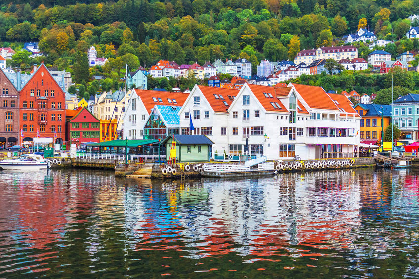 pier architecture of bryggen in bergen, norway