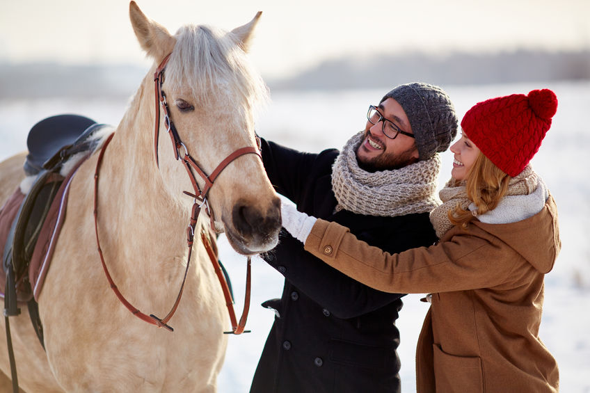 Happy couple in winterwear looking at horse in natural environment